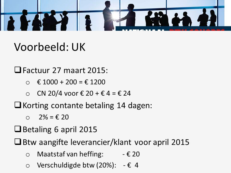  Factuur 27 maart 2015: o € 1000 + 200 = € 1200 o CN 20/4 voor € 20 + € 4 = € 24  Korting contante betaling 14 dagen: o 2% = € 20  Betaling 6 april