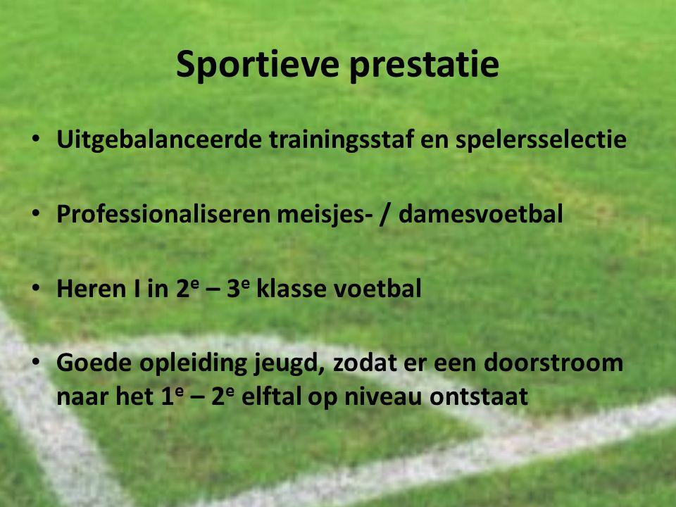 Sportieve prestatie Uitgebalanceerde trainingsstaf en spelersselectie Professionaliseren meisjes- / damesvoetbal Heren I in 2 e – 3 e klasse voetbal G
