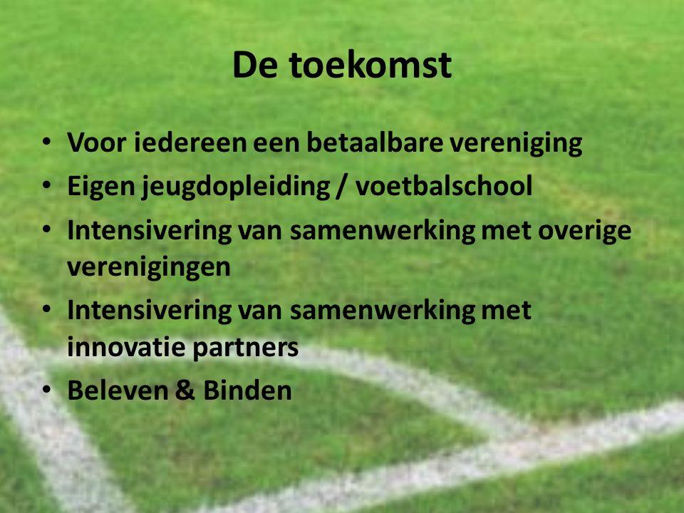De toekomst Voor iedereen een betaalbare vereniging Eigen jeugdopleiding / voetbalschool Intensivering van samenwerking met overige verenigingen Inten