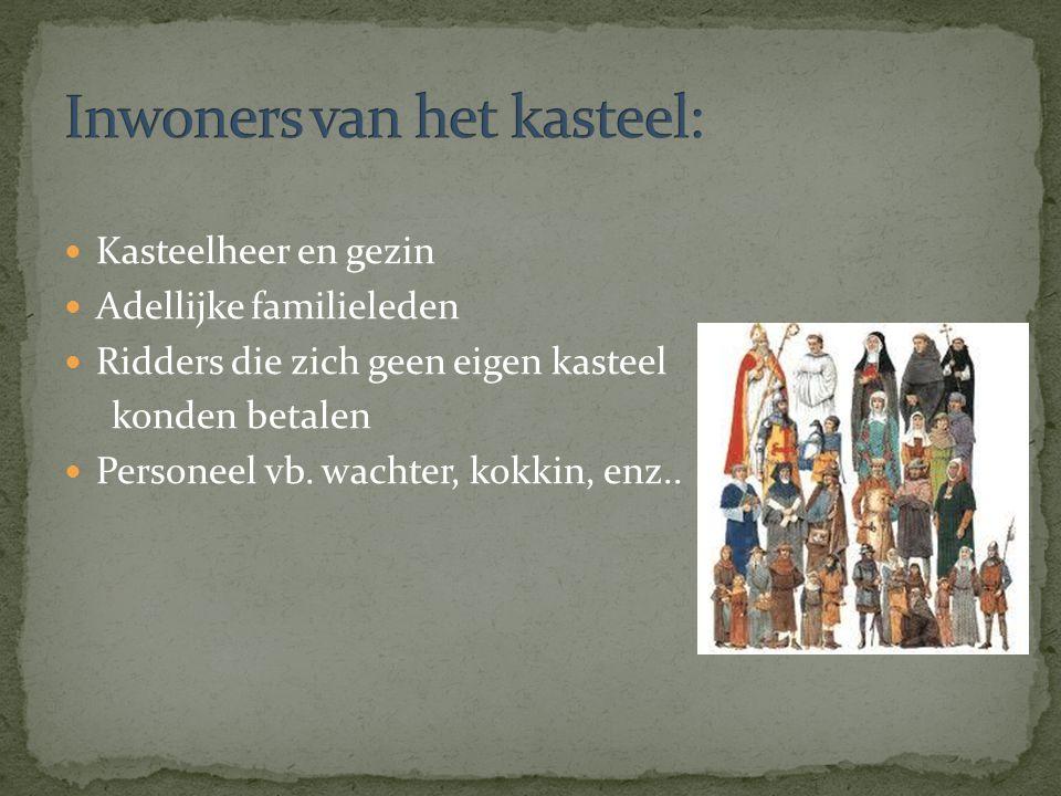 Kasteelheer en gezin Adellijke familieleden Ridders die zich geen eigen kasteel konden betalen Personeel vb. wachter, kokkin, enz..