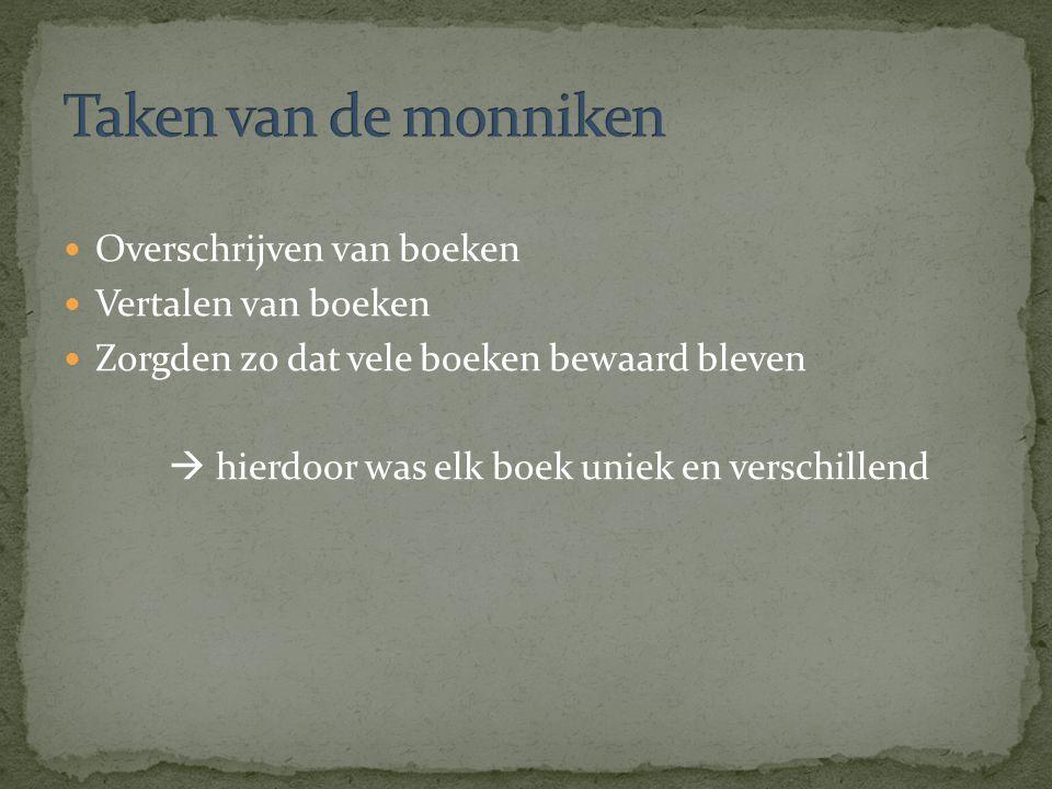 Overschrijven van boeken Vertalen van boeken Zorgden zo dat vele boeken bewaard bleven  hierdoor was elk boek uniek en verschillend