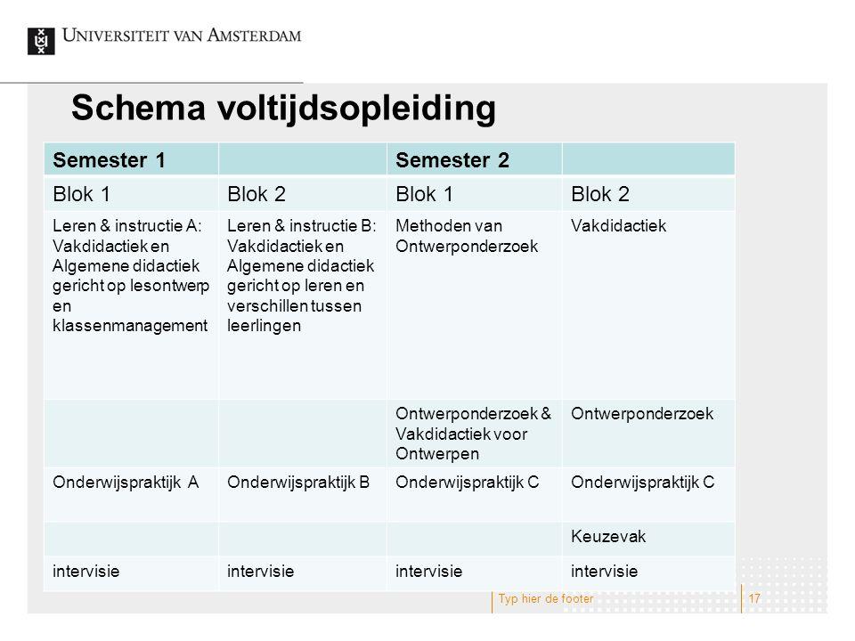 Schema voltijdsopleiding Semester 1Semester 2 Blok 1Blok 2Blok 1Blok 2 Leren & instructie A: Vakdidactiek en Algemene didactiek gericht op lesontwerp