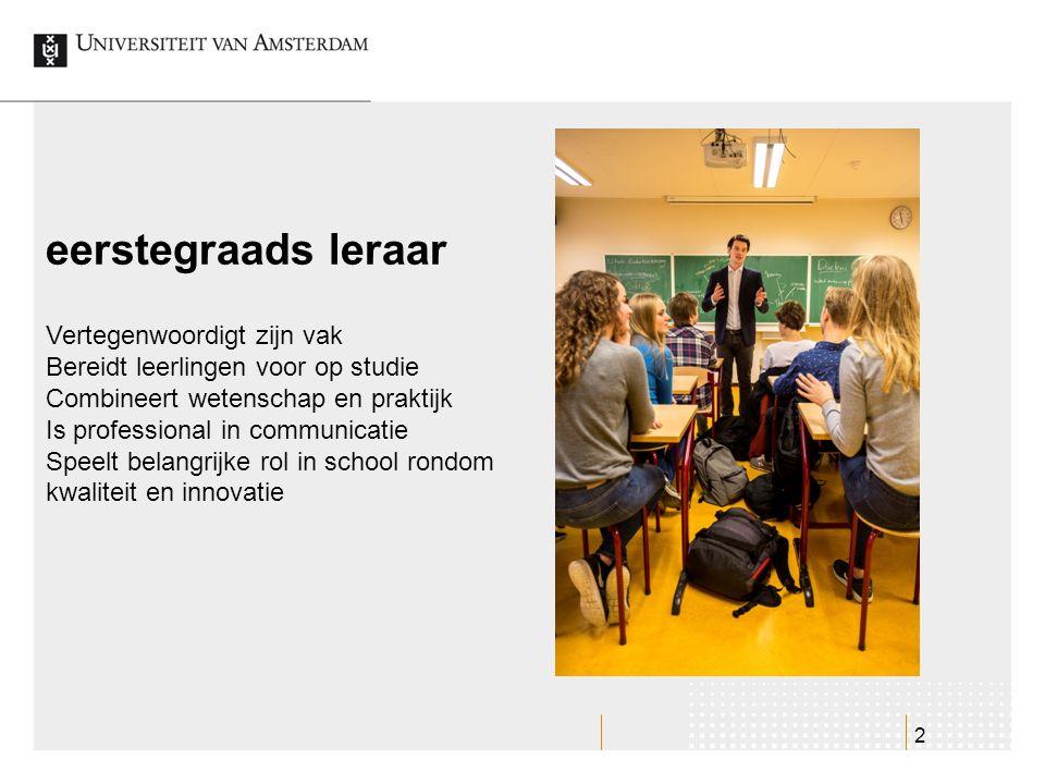 2 eerstegraads leraar Vertegenwoordigt zijn vak Bereidt leerlingen voor op studie Combineert wetenschap en praktijk Is professional in communicatie Sp