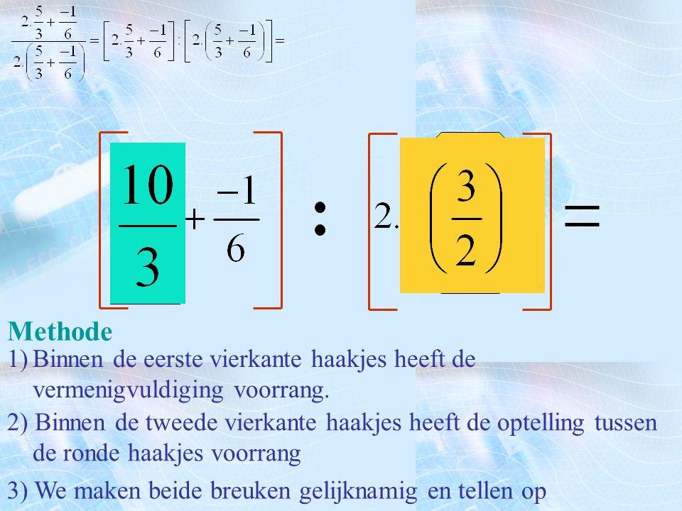 Methode 1)Binnen de eerste vierkante haakjes heeft de vermenigvuldiging voorrang. 3) We maken beide breuken gelijknamig en tellen op 2) Binnen de twee