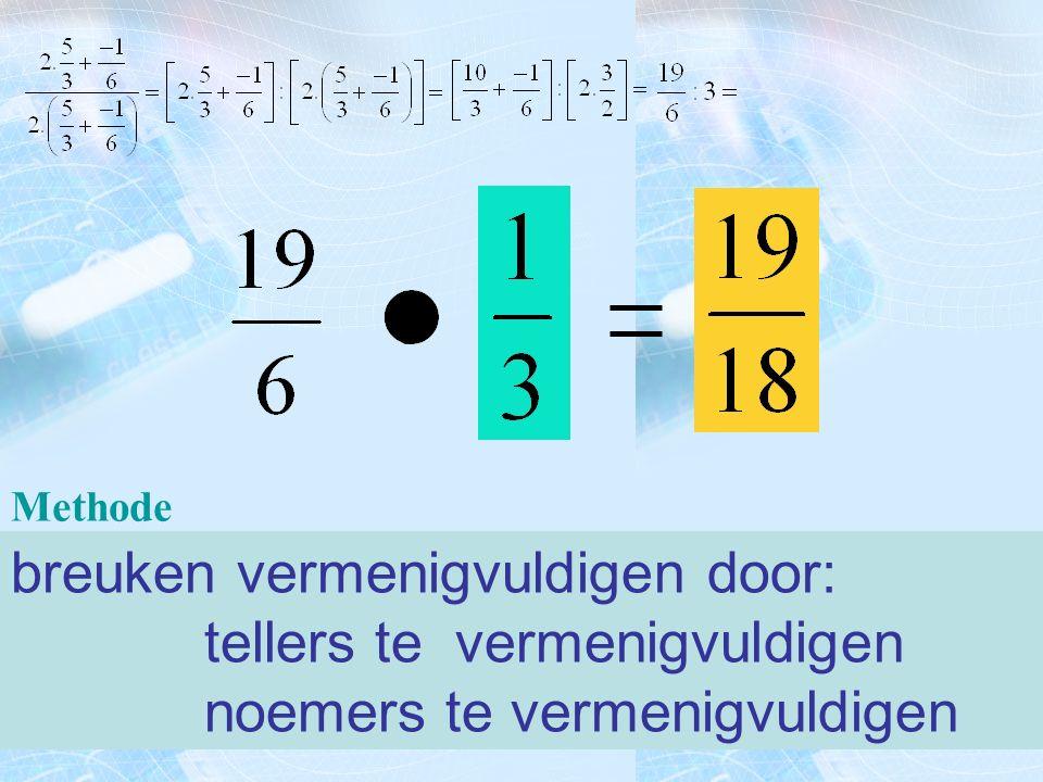 Methode 1) schrijf de opgave over 2) vervang het deelteken door een maalteken 3) vervang de tweede breuk door zijn omgekeerde (teller en noemer verwis