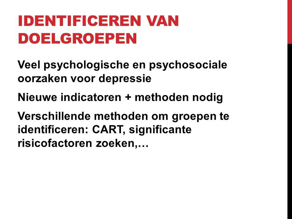 IDENTIFICEREN VAN DOELGROEPEN Veel psychologische en psychosociale oorzaken voor depressie Nieuwe indicatoren + methoden nodig Verschillende methoden