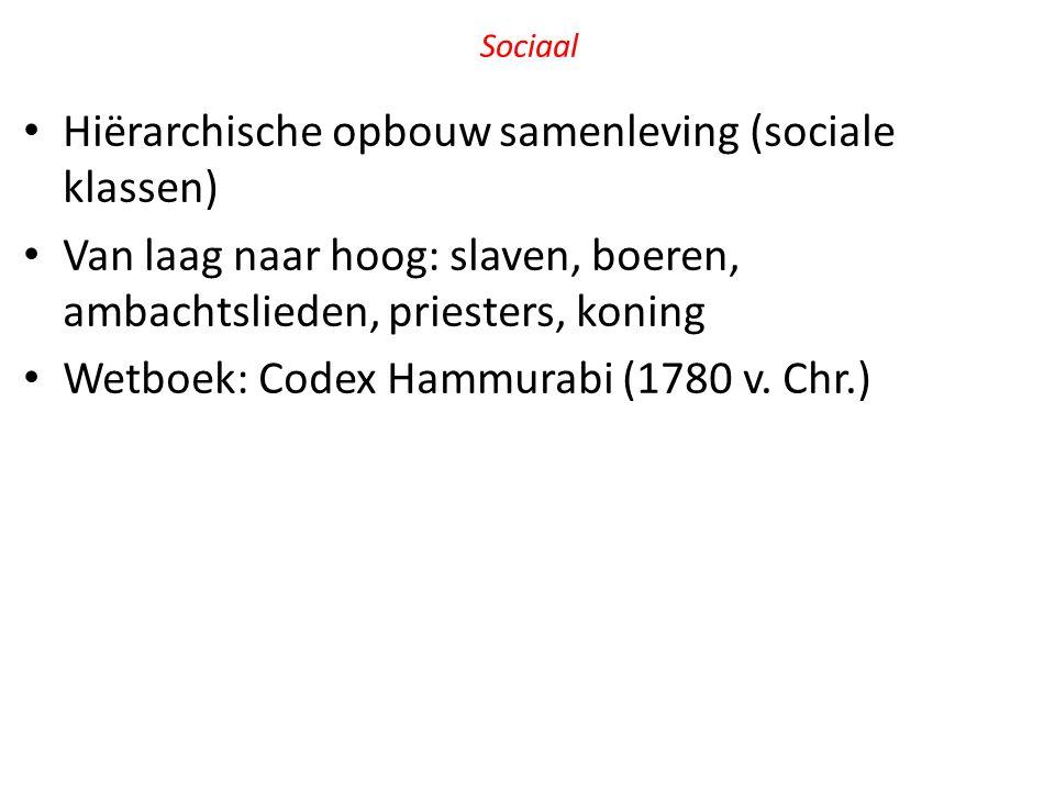 Sociaal Hiërarchische opbouw samenleving (sociale klassen) Van laag naar hoog: slaven, boeren, ambachtslieden, priesters, koning Wetboek: Codex Hammur
