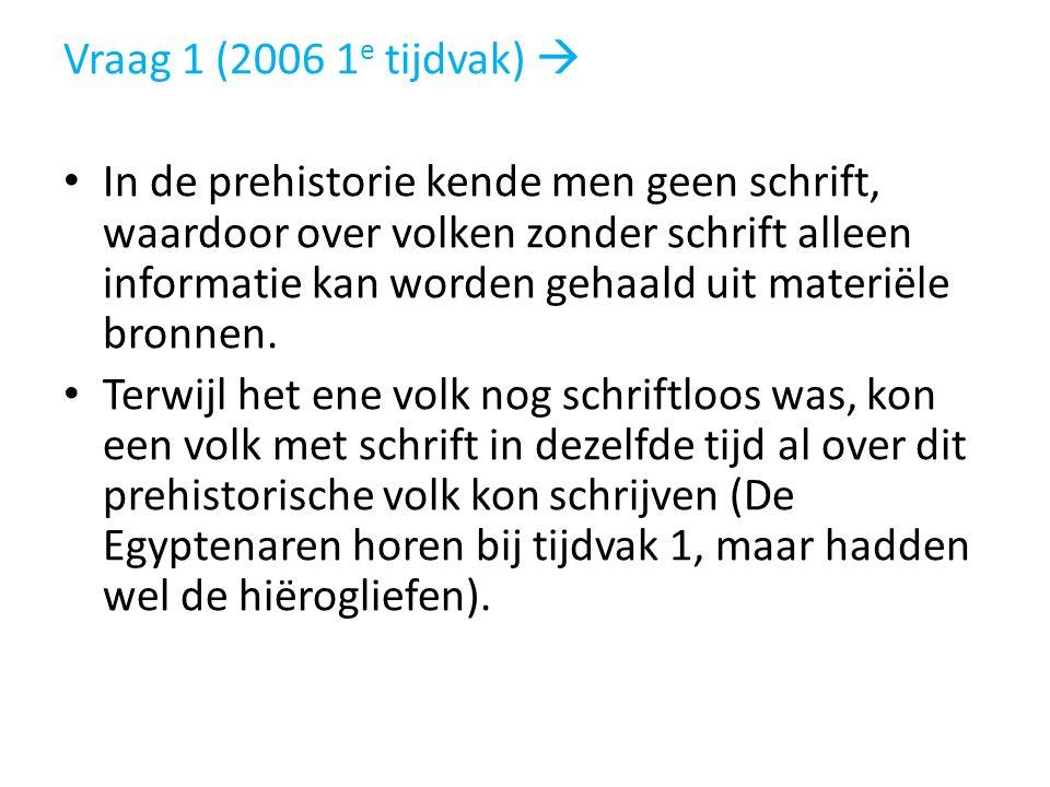Vraag 1 (2006 1 e tijdvak)  In de prehistorie kende men geen schrift, waardoor over volken zonder schrift alleen informatie kan worden gehaald uit ma