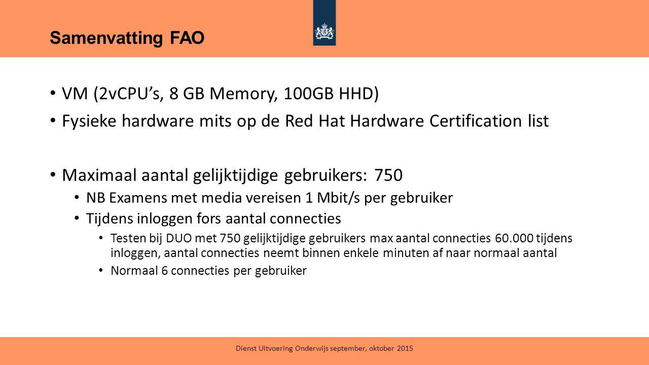 VM (2vCPU's, 8 GB Memory, 100GB HHD) Fysieke hardware mits op de Red Hat Hardware Certification list Maximaal aantal gelijktijdige gebruikers: 750 NB