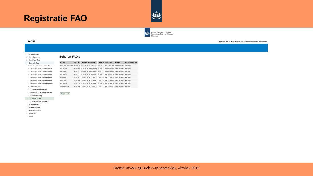 Registratie FAO Dienst Uitvoering Onderwijs september, oktober 2015