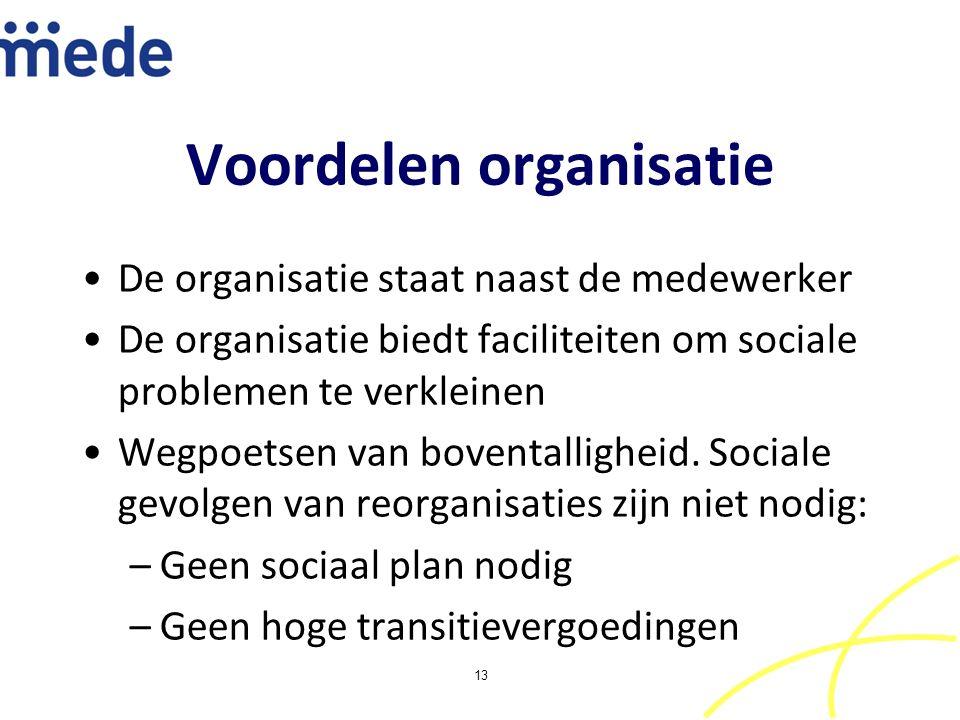 Voordelen organisatie De organisatie staat naast de medewerker De organisatie biedt faciliteiten om sociale problemen te verkleinen Wegpoetsen van boventalligheid.
