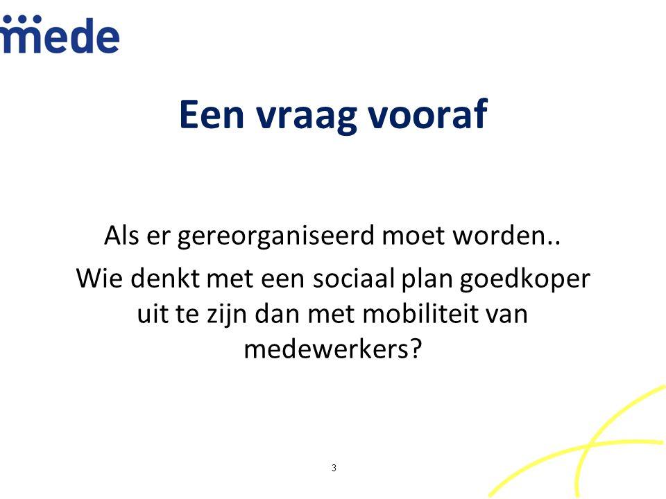 Een vraag vooraf Als er gereorganiseerd moet worden.. Wie denkt met een sociaal plan goedkoper uit te zijn dan met mobiliteit van medewerkers? 3
