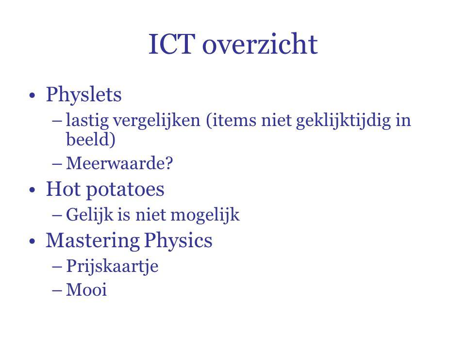 ICT overzicht Physlets –lastig vergelijken (items niet geklijktijdig in beeld) –Meerwaarde.