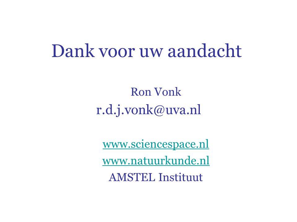 Dank voor uw aandacht Ron Vonk r.d.j.vonk@uva.nl www.sciencespace.nl www.natuurkunde.nl AMSTEL Instituut