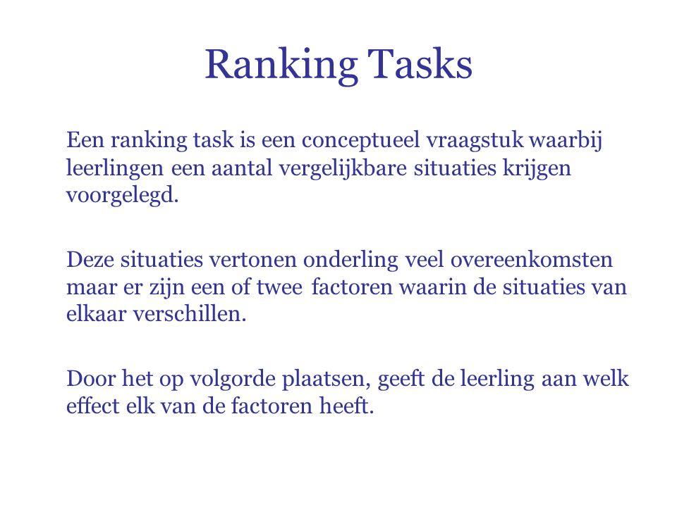 Ranking Tasks Een ranking task is een conceptueel vraagstuk waarbij leerlingen een aantal vergelijkbare situaties krijgen voorgelegd.