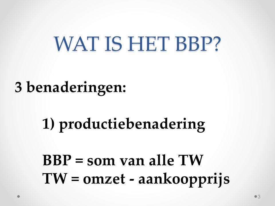 WAT IS HET BBP? 3 benaderingen: 1) productiebenadering BBP = som van alle TW TW = omzet - aankoopprijs 3