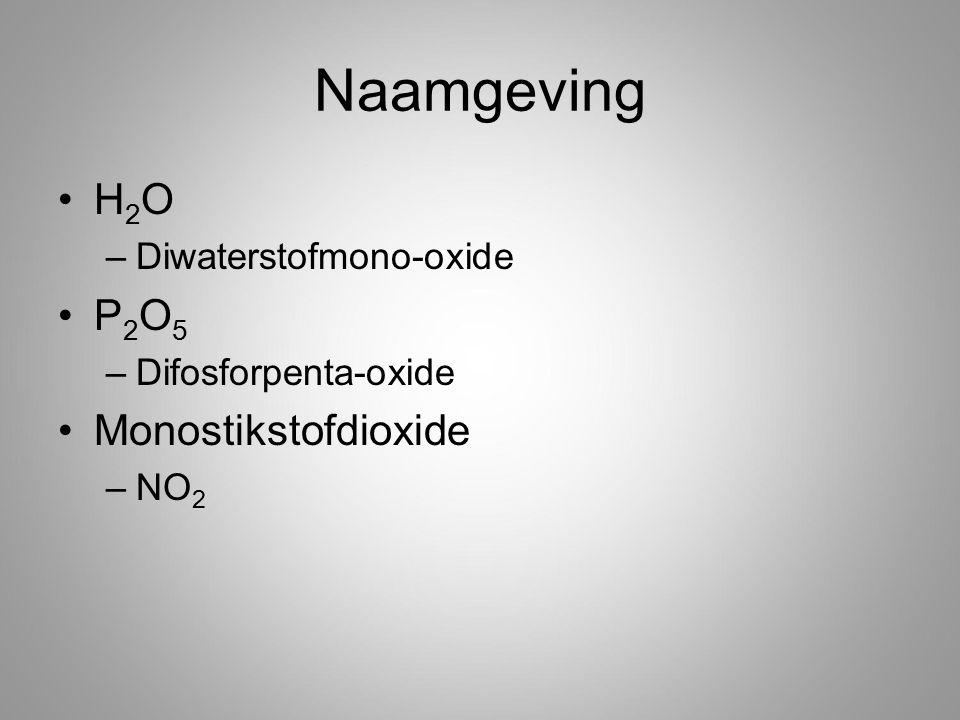 Naamgeving H 2 O –Diwaterstofmono-oxide P 2 O 5 –Difosforpenta-oxide Monostikstofdioxide –NO 2
