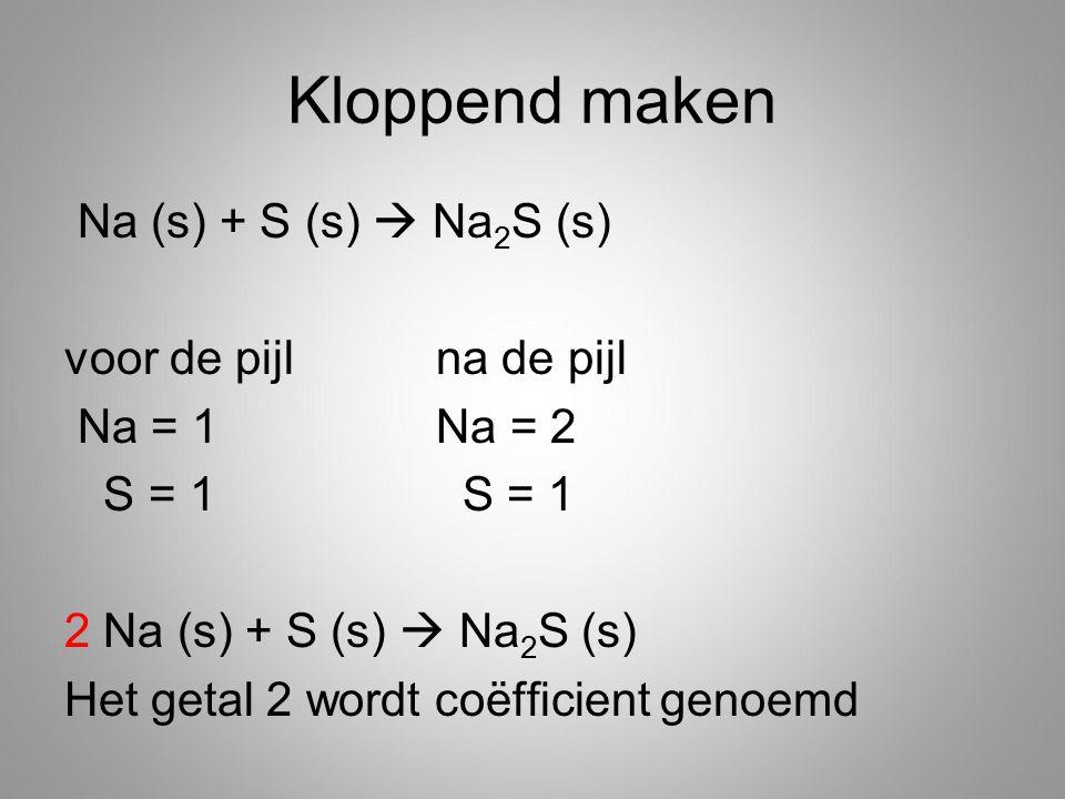 Kloppend maken Na (s) + S (s)  Na 2 S (s) voor de pijl na de pijl Na = 1 Na = 2 S = 1 S = 1 2 Na (s) + S (s)  Na 2 S (s) Het getal 2 wordt coëfficient genoemd