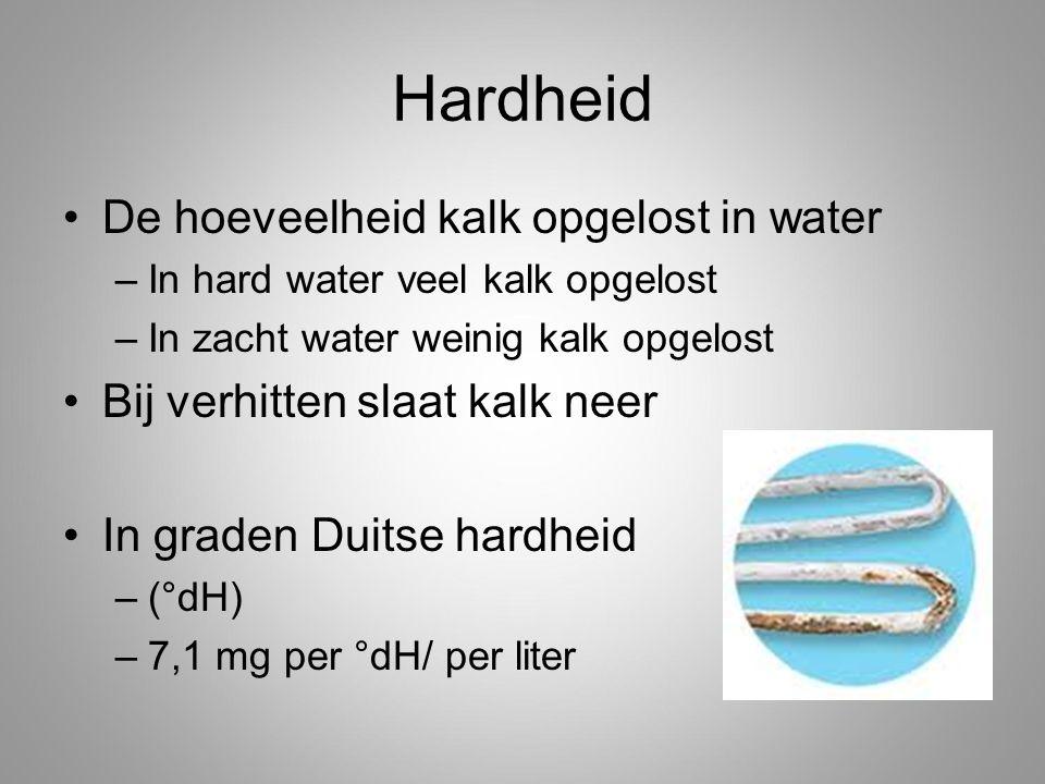 Hardheid De hoeveelheid kalk opgelost in water –In hard water veel kalk opgelost –In zacht water weinig kalk opgelost Bij verhitten slaat kalk neer In graden Duitse hardheid –(°dH) –7,1 mg per °dH/ per liter