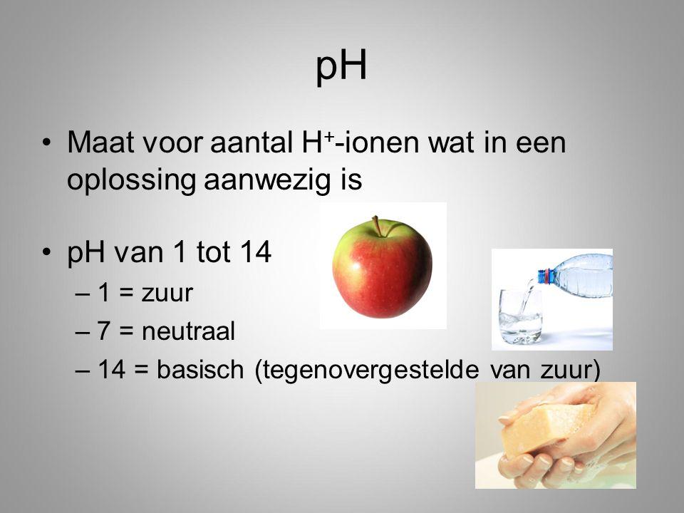 pH Maat voor aantal H + -ionen wat in een oplossing aanwezig is pH van 1 tot 14 –1 = zuur –7 = neutraal –14 = basisch (tegenovergestelde van zuur)