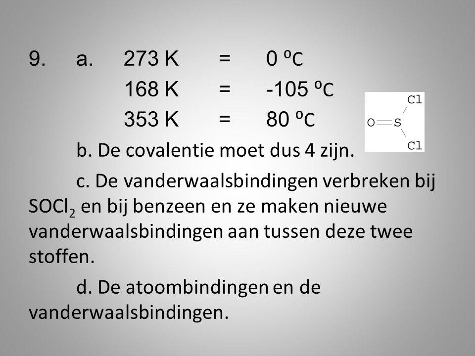 9.a. 273 K = 0 ⁰C 168 K=-105 ⁰C 353 K=80 ⁰C b. De covalentie moet dus 4 zijn. c. De vanderwaalsbindingen verbreken bij SOCl 2 en bij benzeen en ze mak