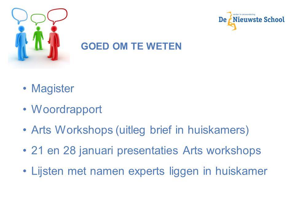 GOED OM TE WETEN Magister Woordrapport Arts Workshops (uitleg brief in huiskamers) 21 en 28 januari presentaties Arts workshops Lijsten met namen expe