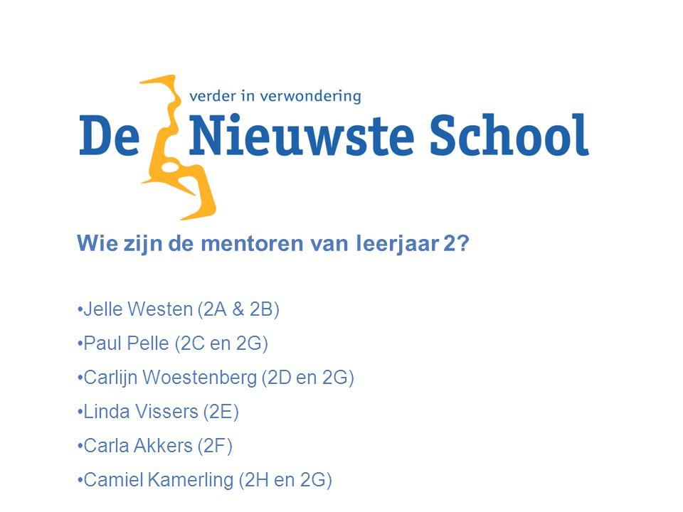 Wie zijn de mentoren van leerjaar 2? Jelle Westen (2A & 2B) Paul Pelle (2C en 2G) Carlijn Woestenberg (2D en 2G) Linda Vissers (2E) Carla Akkers (2F)