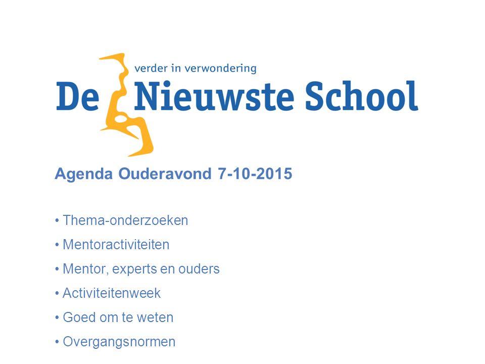 Agenda Ouderavond 7-10-2015 Thema-onderzoeken Mentoractiviteiten Mentor, experts en ouders Activiteitenweek Goed om te weten Overgangsnormen