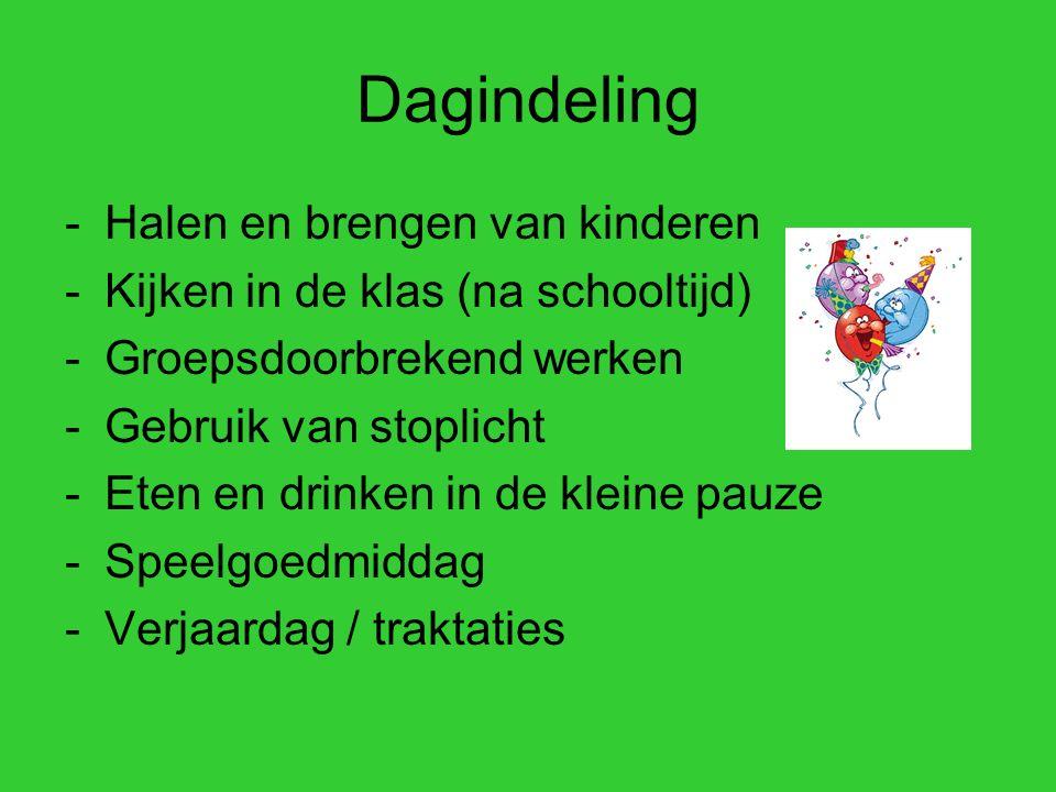 Dagindeling -Halen en brengen van kinderen -Kijken in de klas (na schooltijd) -Groepsdoorbrekend werken -Gebruik van stoplicht -Eten en drinken in de kleine pauze -Speelgoedmiddag -Verjaardag / traktaties