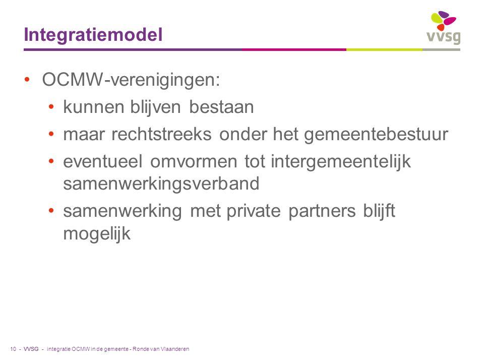 VVSG - Integratiemodel OCMW-verenigingen: kunnen blijven bestaan maar rechtstreeks onder het gemeentebestuur eventueel omvormen tot intergemeentelijk samenwerkingsverband samenwerking met private partners blijft mogelijk integratie OCMW in de gemeente - Ronde van Vlaanderen10 -