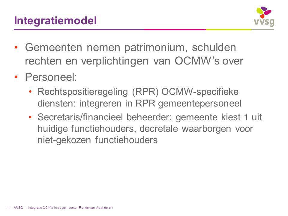 VVSG - Integratiemodel Gemeenten nemen patrimonium, schulden rechten en verplichtingen van OCMW's over Personeel: Rechtspositieregeling (RPR) OCMW-specifieke diensten: integreren in RPR gemeentepersoneel Secretaris/financieel beheerder: gemeente kiest 1 uit huidige functiehouders, decretale waarborgen voor niet-gekozen functiehouders integratie OCMW in de gemeente - Ronde van Vlaanderen11 -