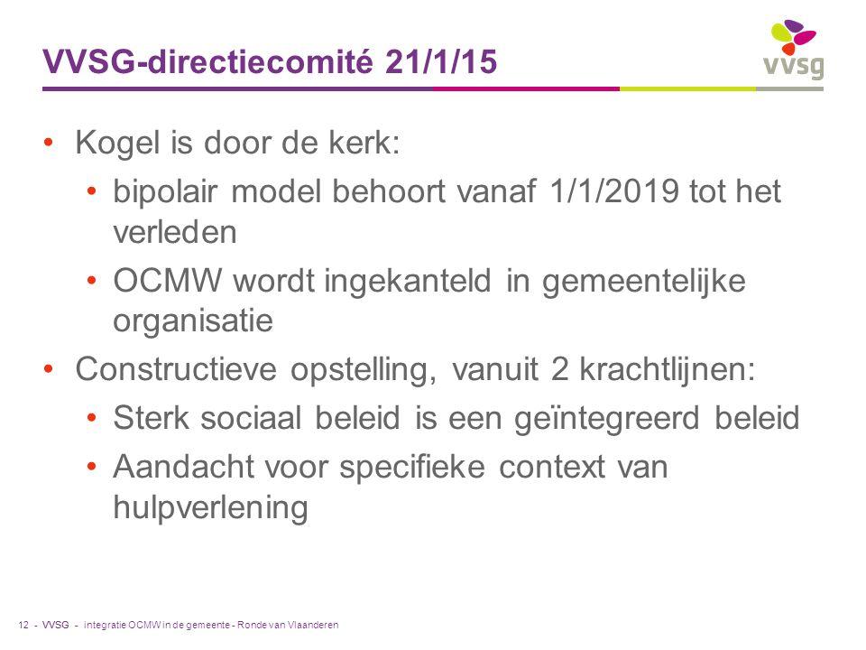 VVSG - VVSG-directiecomité 21/1/15 Kogel is door de kerk: bipolair model behoort vanaf 1/1/2019 tot het verleden OCMW wordt ingekanteld in gemeentelij