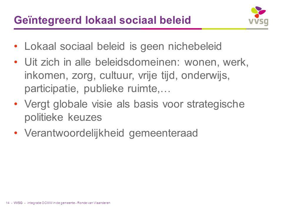 VVSG - Geïntegreerd lokaal sociaal beleid Lokaal sociaal beleid is geen nichebeleid Uit zich in alle beleidsdomeinen: wonen, werk, inkomen, zorg, cultuur, vrije tijd, onderwijs, participatie, publieke ruimte,… Vergt globale visie als basis voor strategische politieke keuzes Verantwoordelijkheid gemeenteraad integratie OCMW in de gemeente - Ronde van Vlaanderen14 -