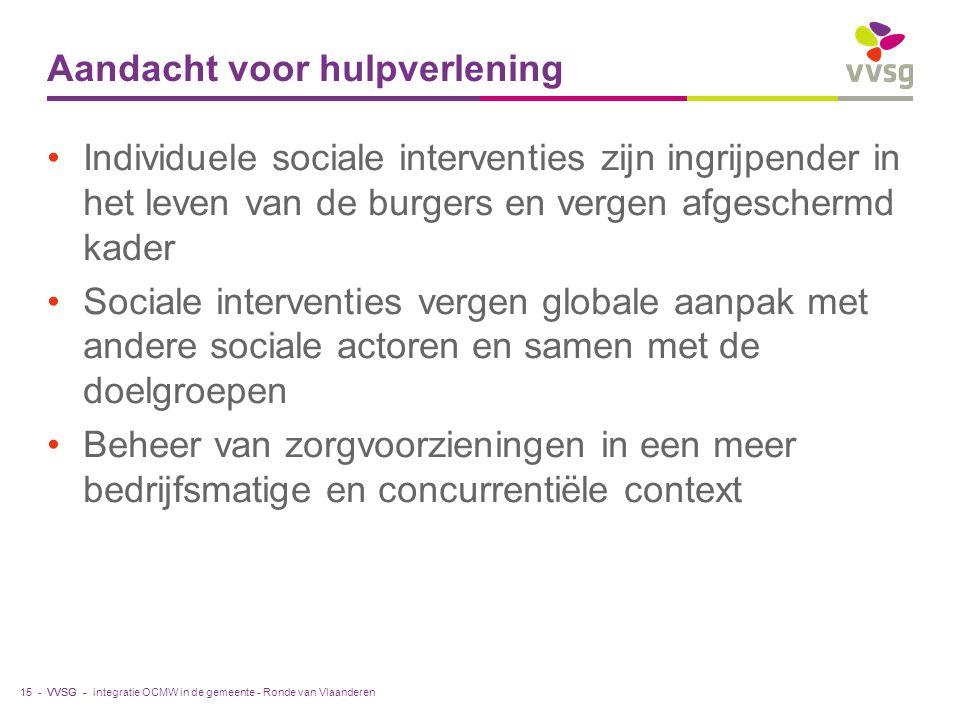 VVSG - Aandacht voor hulpverlening Individuele sociale interventies zijn ingrijpender in het leven van de burgers en vergen afgeschermd kader Sociale