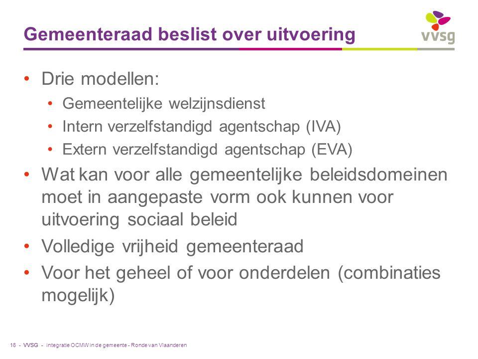 VVSG - Gemeenteraad beslist over uitvoering Drie modellen: Gemeentelijke welzijnsdienst Intern verzelfstandigd agentschap (IVA) Extern verzelfstandigd