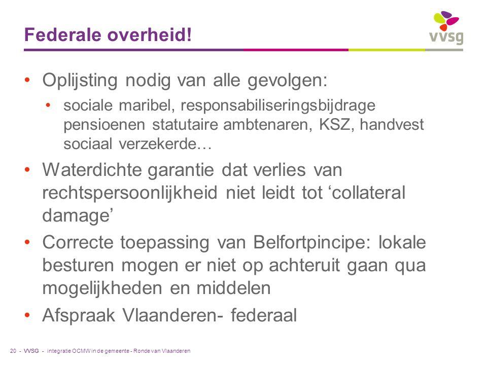 VVSG - Federale overheid.