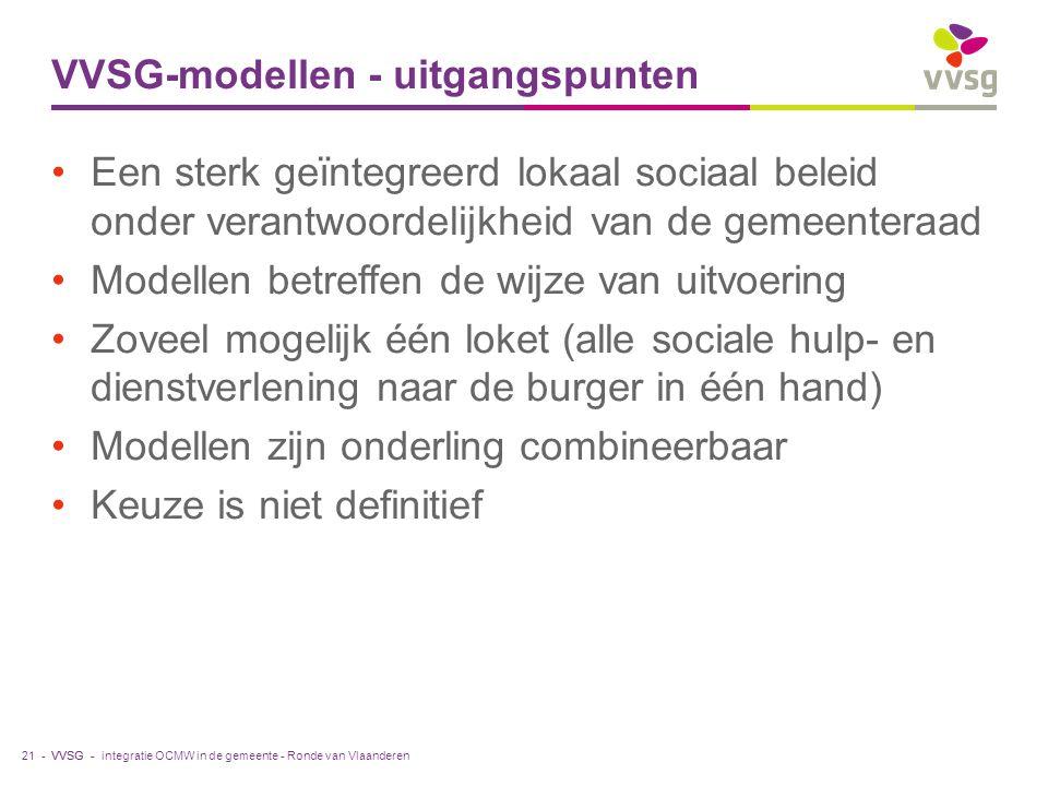 VVSG - VVSG-modellen - uitgangspunten Een sterk geïntegreerd lokaal sociaal beleid onder verantwoordelijkheid van de gemeenteraad Modellen betreffen de wijze van uitvoering Zoveel mogelijk één loket (alle sociale hulp- en dienstverlening naar de burger in één hand) Modellen zijn onderling combineerbaar Keuze is niet definitief integratie OCMW in de gemeente - Ronde van Vlaanderen21 -