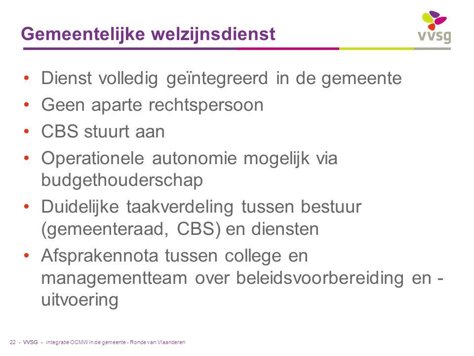VVSG - Gemeentelijke welzijnsdienst Dienst volledig geïntegreerd in de gemeente Geen aparte rechtspersoon CBS stuurt aan Operationele autonomie mogeli