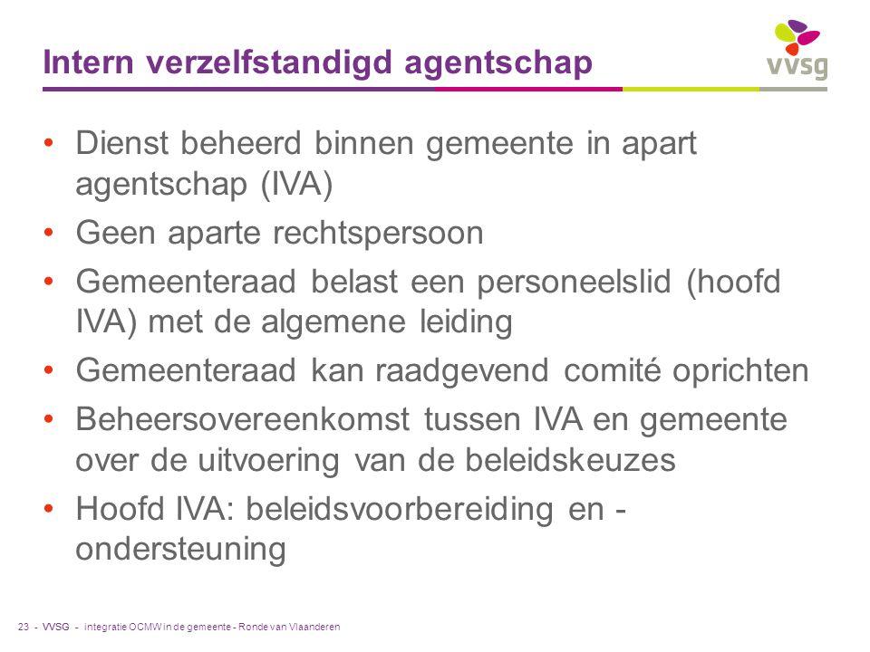 VVSG - Intern verzelfstandigd agentschap Dienst beheerd binnen gemeente in apart agentschap (IVA) Geen aparte rechtspersoon Gemeenteraad belast een personeelslid (hoofd IVA) met de algemene leiding Gemeenteraad kan raadgevend comité oprichten Beheersovereenkomst tussen IVA en gemeente over de uitvoering van de beleidskeuzes Hoofd IVA: beleidsvoorbereiding en - ondersteuning integratie OCMW in de gemeente - Ronde van Vlaanderen23 -