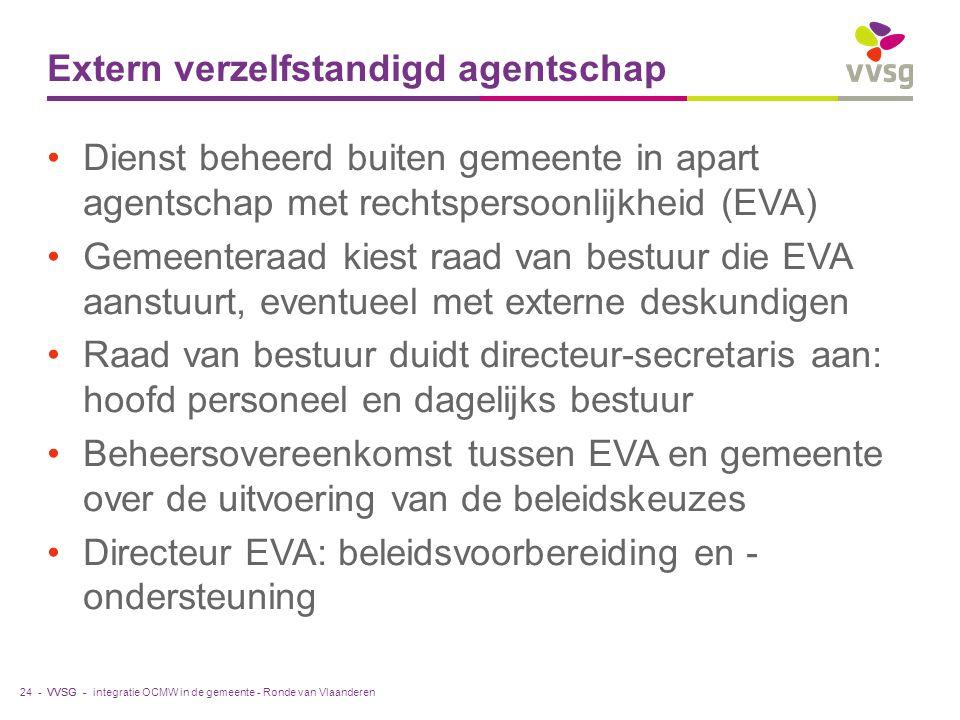 VVSG - Extern verzelfstandigd agentschap Dienst beheerd buiten gemeente in apart agentschap met rechtspersoonlijkheid (EVA) Gemeenteraad kiest raad van bestuur die EVA aanstuurt, eventueel met externe deskundigen Raad van bestuur duidt directeur-secretaris aan: hoofd personeel en dagelijks bestuur Beheersovereenkomst tussen EVA en gemeente over de uitvoering van de beleidskeuzes Directeur EVA: beleidsvoorbereiding en - ondersteuning integratie OCMW in de gemeente - Ronde van Vlaanderen24 -
