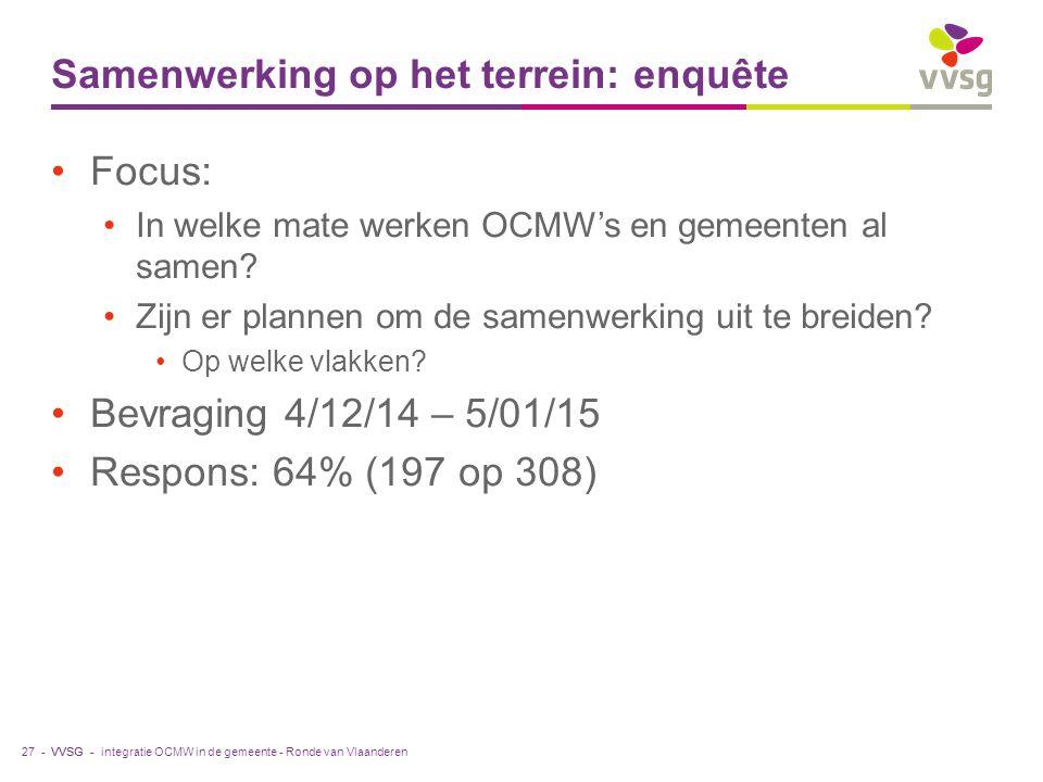 VVSG - Samenwerking op het terrein: enquête Focus: In welke mate werken OCMW's en gemeenten al samen.