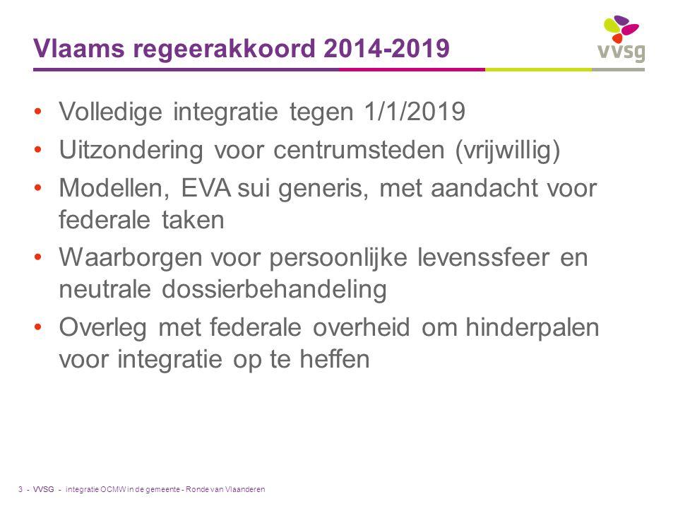 VVSG - Vlaams regeerakkoord 2014-2019 Volledige integratie tegen 1/1/2019 Uitzondering voor centrumsteden (vrijwillig) Modellen, EVA sui generis, met