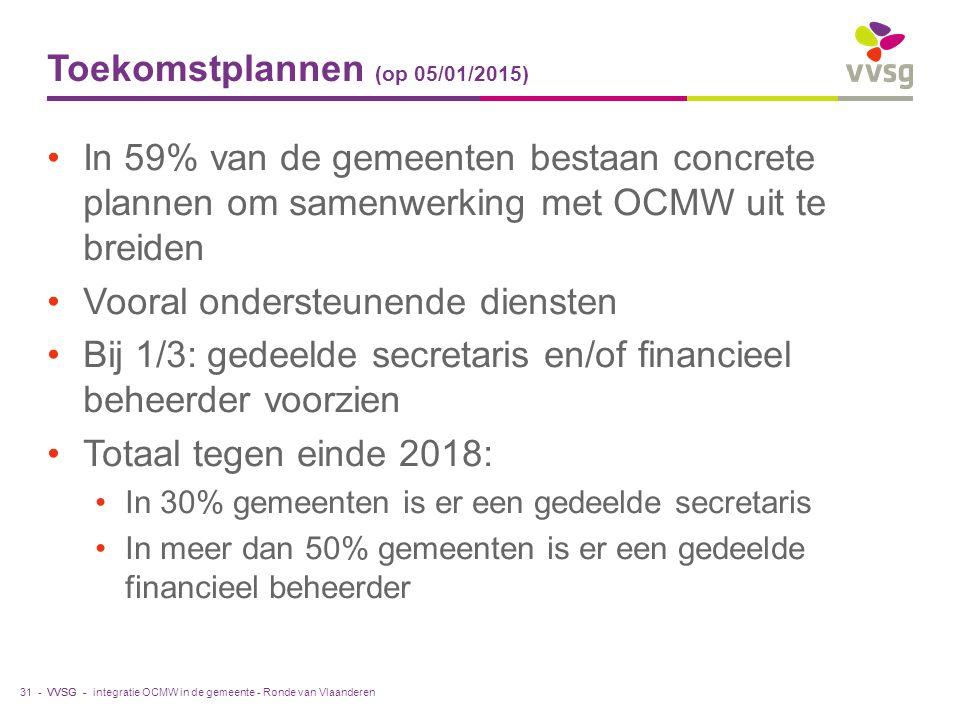 VVSG - Toekomstplannen (op 05/01/2015) In 59% van de gemeenten bestaan concrete plannen om samenwerking met OCMW uit te breiden Vooral ondersteunende diensten Bij 1/3: gedeelde secretaris en/of financieel beheerder voorzien Totaal tegen einde 2018: In 30% gemeenten is er een gedeelde secretaris In meer dan 50% gemeenten is er een gedeelde financieel beheerder integratie OCMW in de gemeente - Ronde van Vlaanderen31 -