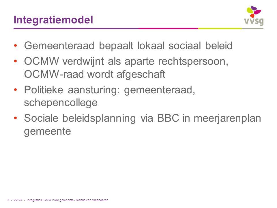 VVSG - Integratiemodel Gemeenteraad bepaalt lokaal sociaal beleid OCMW verdwijnt als aparte rechtspersoon, OCMW-raad wordt afgeschaft Politieke aansturing: gemeenteraad, schepencollege Sociale beleidsplanning via BBC in meerjarenplan gemeente integratie OCMW in de gemeente - Ronde van Vlaanderen8 -