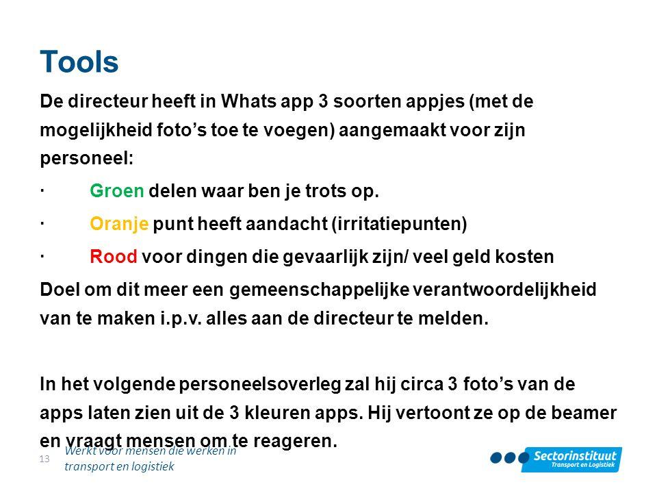 Tools De directeur heeft in Whats app 3 soorten appjes (met de mogelijkheid foto's toe te voegen) aangemaakt voor zijn personeel: · Groen delen waar b