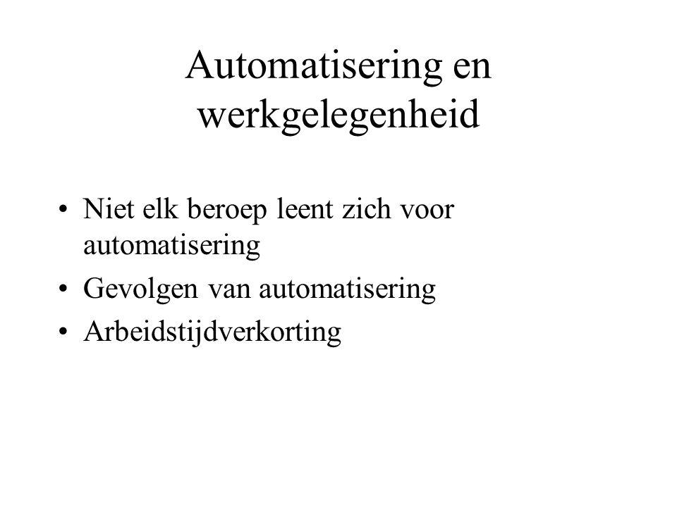 Automatisering en werkgelegenheid Niet elk beroep leent zich voor automatisering Gevolgen van automatisering Arbeidstijdverkorting