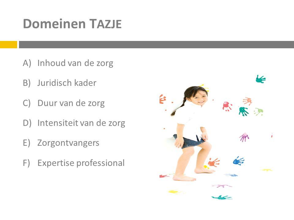 Domeinen T AZJE A)Inhoud van de zorg B)Juridisch kader C)Duur van de zorg D)Intensiteit van de zorg E)Zorgontvangers F)Expertise professional