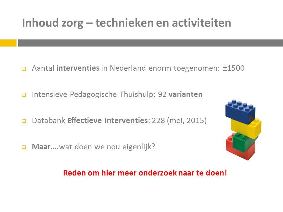 Inhoud zorg – technieken en activiteiten  Aantal interventies in Nederland enorm toegenomen: ±1500  Intensieve Pedagogische Thuishulp: 92 varianten  Databank Effectieve Interventies: 228 (mei, 2015)  Maar….wat doen we nou eigenlijk.
