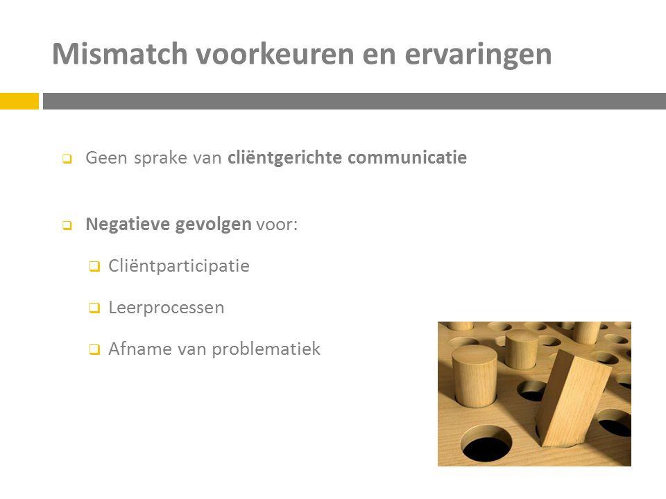 Mismatch voorkeuren en ervaringen  Geen sprake van cliëntgerichte communicatie  Negatieve gevolgen voor:  Cliëntparticipatie  Leerprocessen  Afna