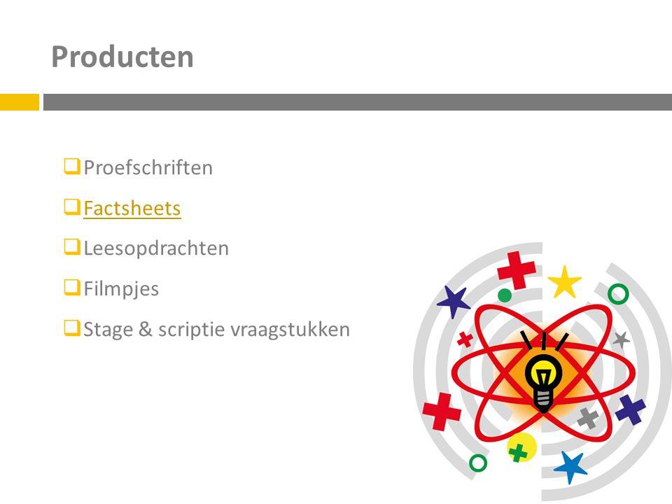 Producten  Proefschriften  Factsheets Factsheets  Leesopdrachten  Filmpjes  Stage & scriptie vraagstukken
